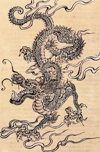 Japanischer Drache. Kolorierter Holzschnitt, chinesische Schule, 19. Jahrhundert. Aus Wikipedia (de.wikipedia.org)